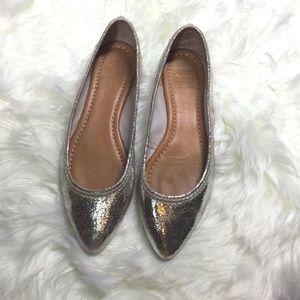{Frye} Silver Metallic Regina Ballet Flats
